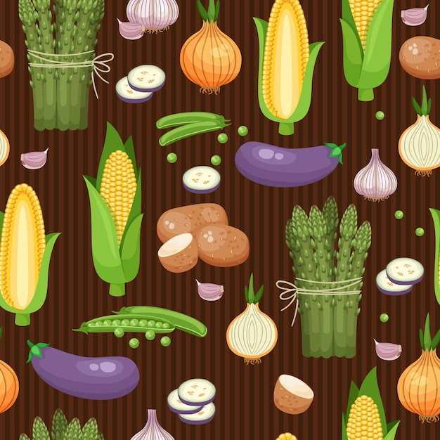 Seamless background asparagus, corn and peas on the brown-stripes. vector illustration Free Vector