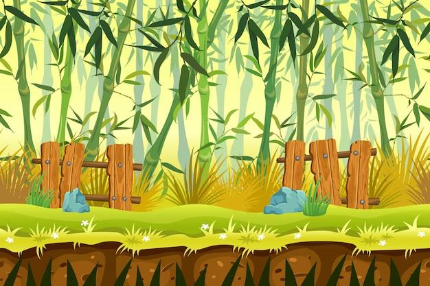 シームレスな背景の竹林。 無料ベクター
