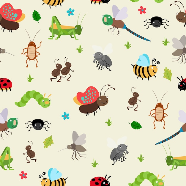 Seamless background bugs and beetles, ant and caterpillar, grasshopper. Free Vector