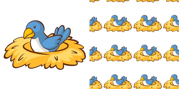 Seamless background design with bird in the nest Free Vector