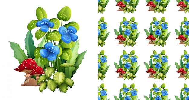 Seamless background design with blue flowers and mushrooms Free Vector