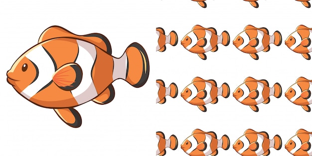 Seamless background design with clownfish Free Vector
