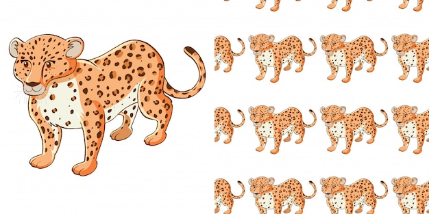 Seamless background design with cute cheetah Free Vector