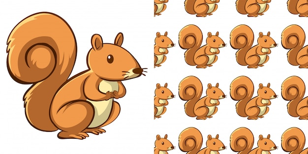 Seamless background design with cute squirrel Free Vector