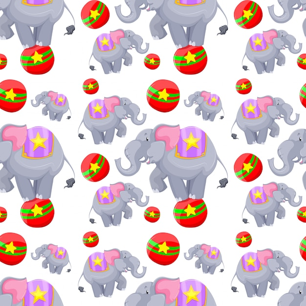 Seamless background design with elephants on balls Free Vector