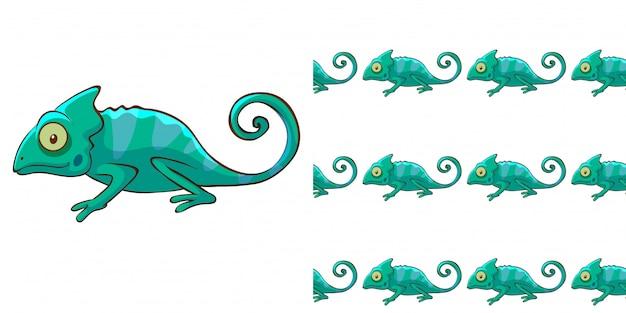 緑のカメレオンとのシームレスな背景デザイン 無料ベクター