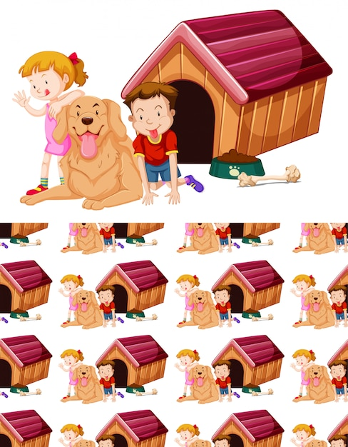 Seamless background design with kids and dog Free Vector