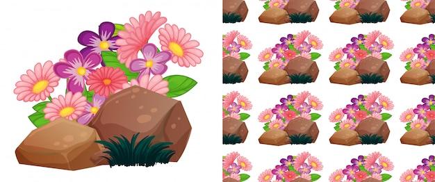 바위에 분홍색 거 베라 꽃으로 완벽 한 배경 디자인 무료 벡터