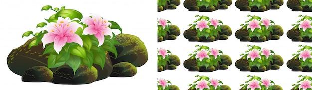 岩の上のピンクのユリの花とのシームレスな背景デザイン 無料ベクター
