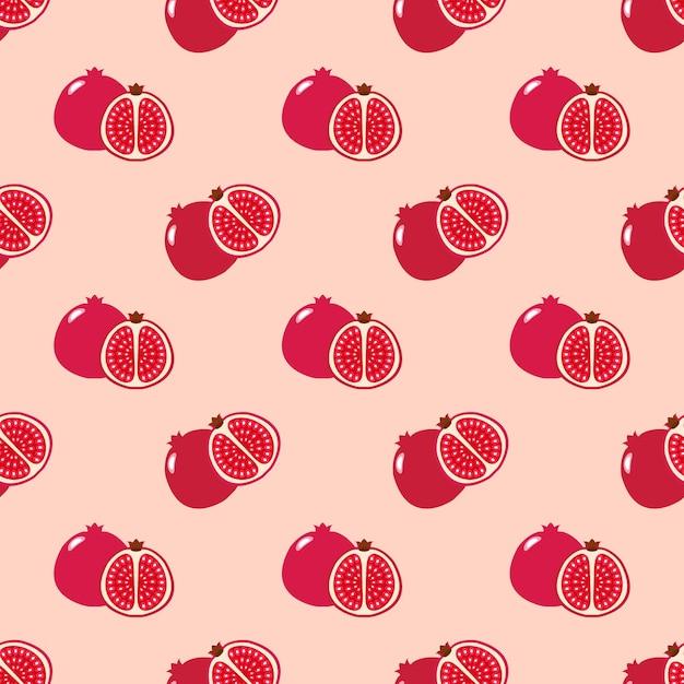 Бесшовные фоновое изображение красочные тропические фрукты красный гранат Premium векторы