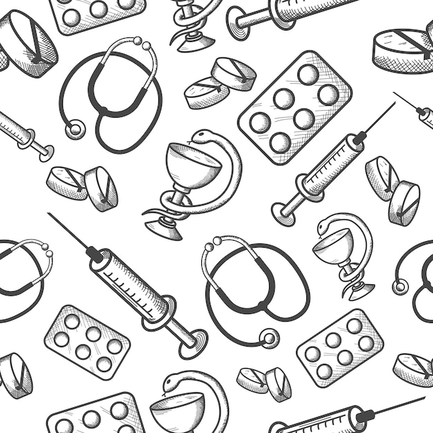 Seamless background of medical items Free Vector