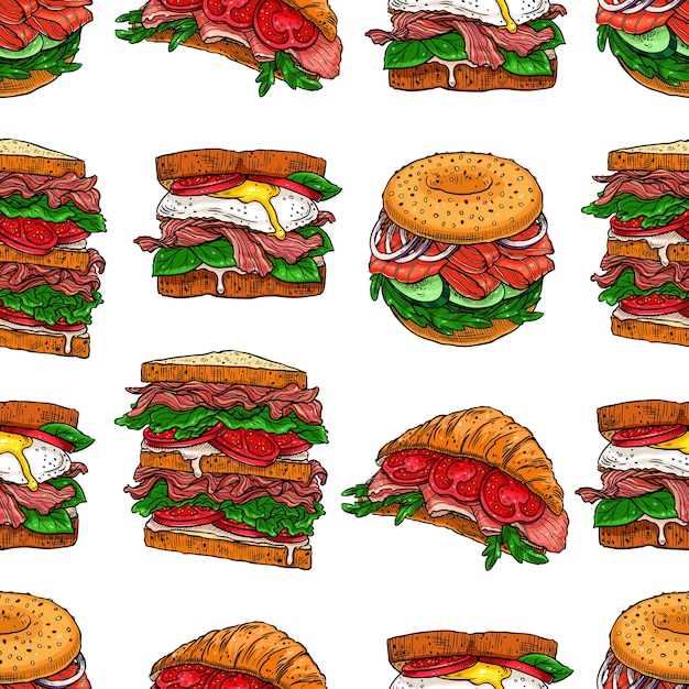 Бесшовный фон из различных аппетитных бутербродов. рисованная иллюстрация Premium векторы