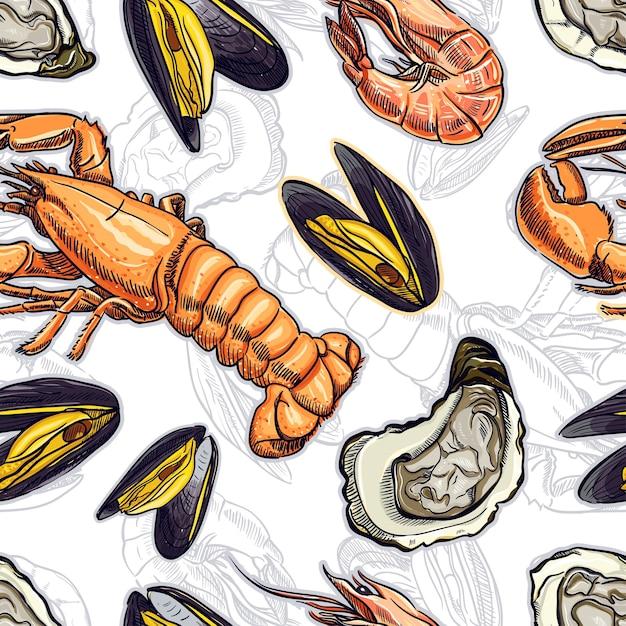さまざまな海洋動物のシームレスな背景。手描きイラスト Premiumベクター
