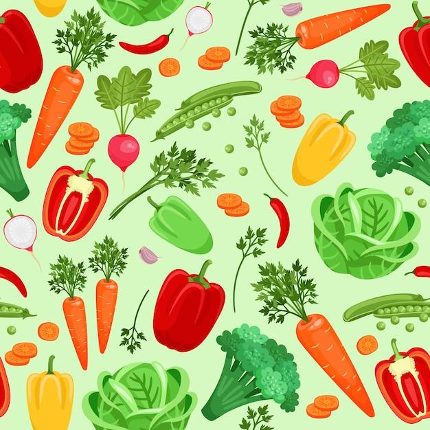 野菜大根、コショウ、キャベツ、ニンジン、ブロッコリー、エンドウ豆のシームレスな背景。ベクトルイラスト 無料ベクター