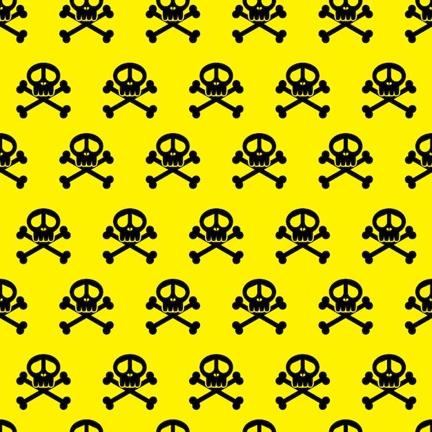 완벽 한 배경 패턴 두개골입니다. 위험 경고 벽지. 설명합니다. 프리미엄 벡터