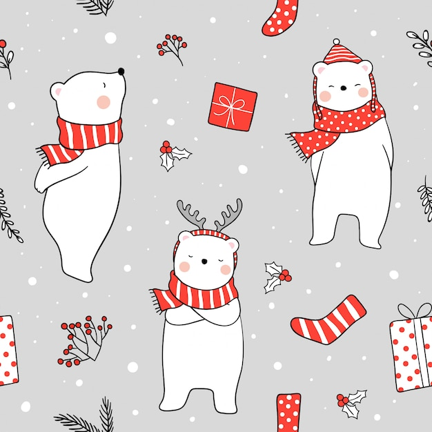 Seamless background white bear with red scarf in snow Premium Vector