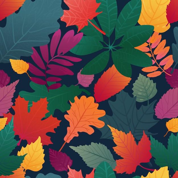 Бесшовный фон с рисунком осенних листьев. осенняя трава, веточка на черном фоне Premium векторы