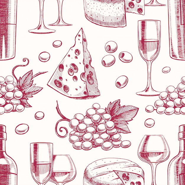 Seamless background with bottles and glasses of wine, grapes and cheese Premium Vector