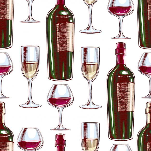 Seamless background with bottles and glasses of wine. hand-drawn illustration Premium Vector