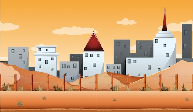 Seamless background with buildings and desert\ land illustration