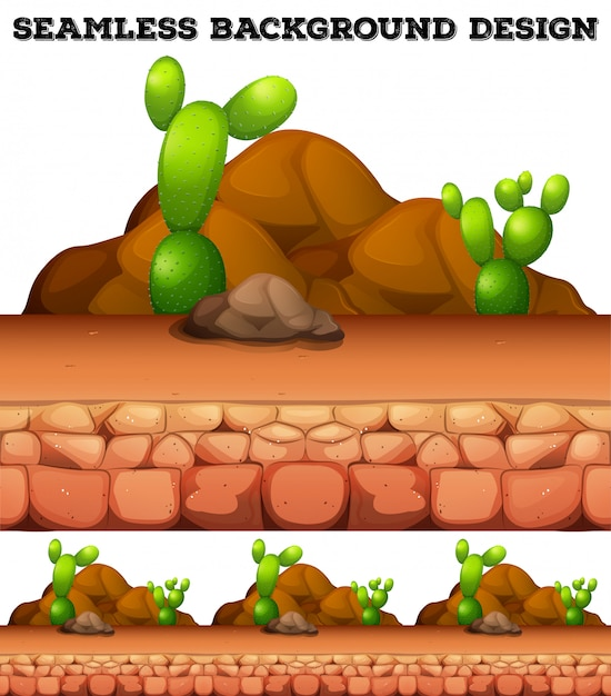 Seamless background with cactus and rocks Free Vector