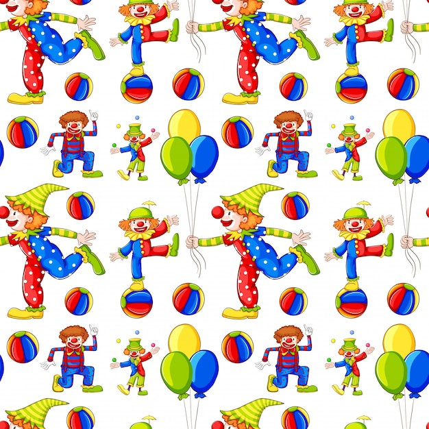 Seamless background with clowns and balloons Free Vector