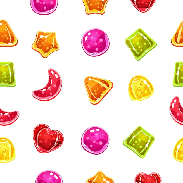 Seamless background with colorful candies on a white background. Premium Vector
