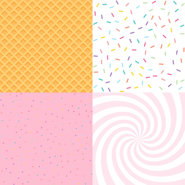 Seamless background with donut and ice cream glaze, confetti, waffle. Premium Vector