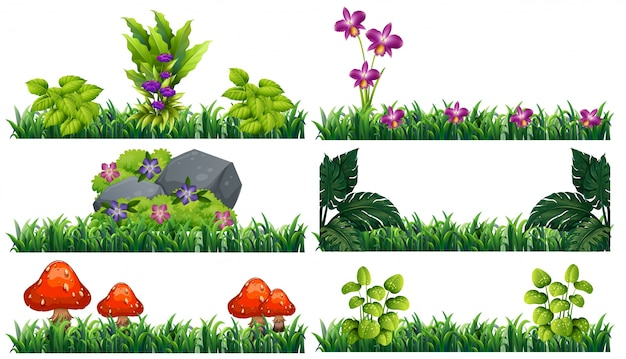 Seamless background with flowers in garden Free Vector