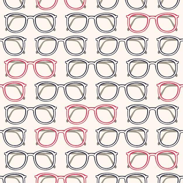 灰色とピンクの眼鏡フレームとシームレスな背景 Premiumベクター