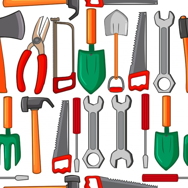 Seamless background with handtools Free Vector