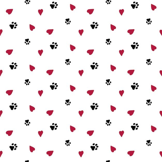 Seamless background with hearts and dog footprint. Premium Vector