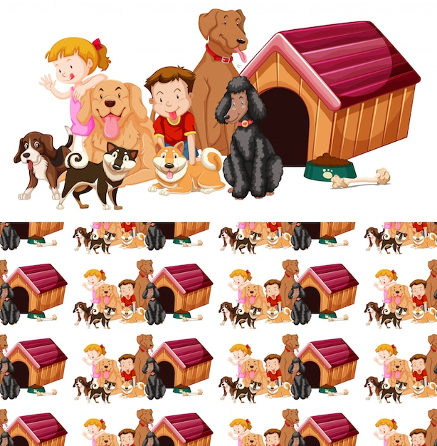 Seamless background with kids and dogs Free Vector