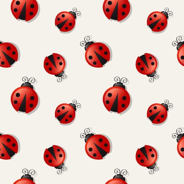 Seamless background with ladybugs. Premium Vector