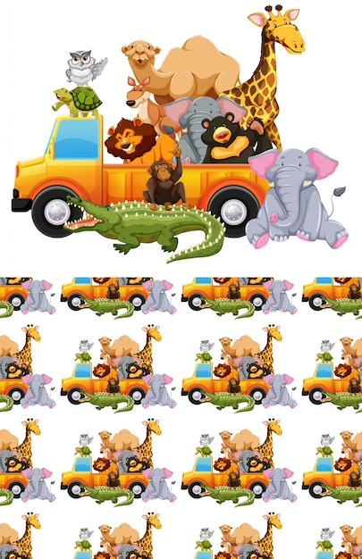 Seamless background with many animals in a truck Free Vector