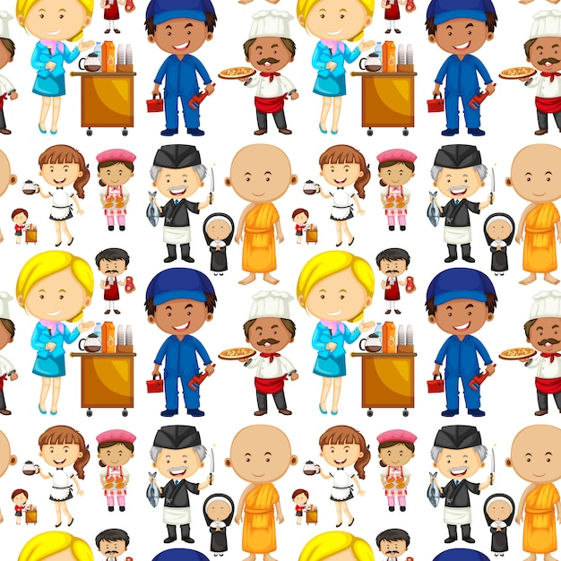 Seamless background with people and jobs Free Vector