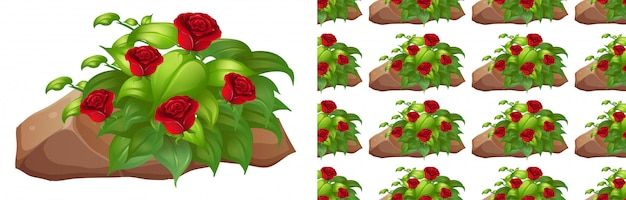 바위에 빨간 장미와 함께 완벽 한 배경 무료 벡터
