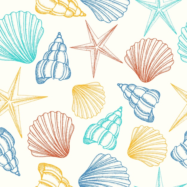 Seamless background with shells in color Premium Vector