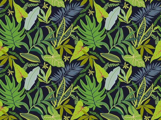 Seamless background with tropical leaves. bright jungle pattern with palm leaves and exotic plant.nd. Premium Vector