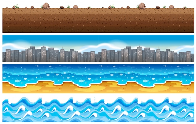 Seamless background with water and city scene Free Vector