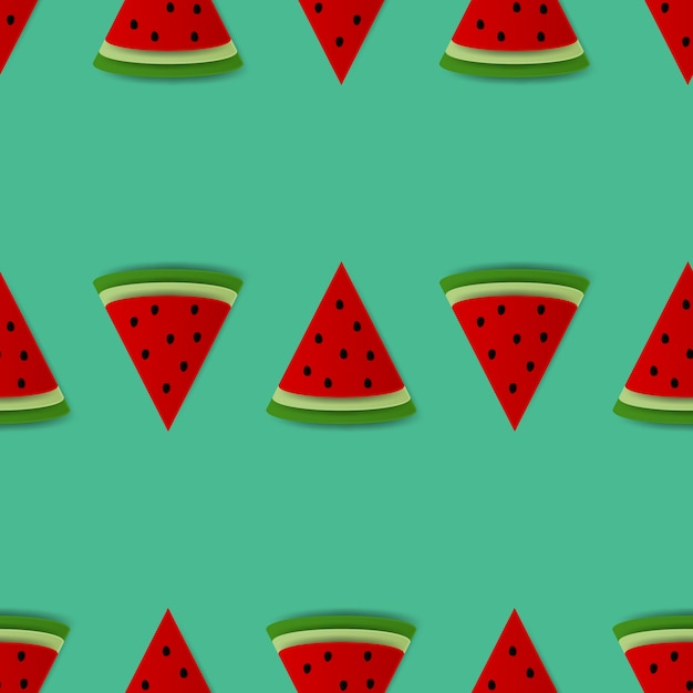 Seamless background with watermelon slices. Premium Vector
