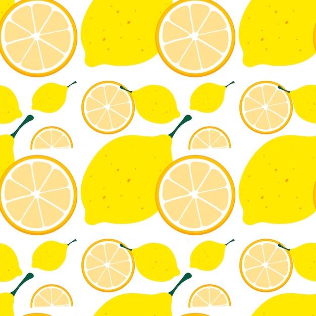 Sfondo senza soluzione di continuità con limone giallo Vettore gratuito