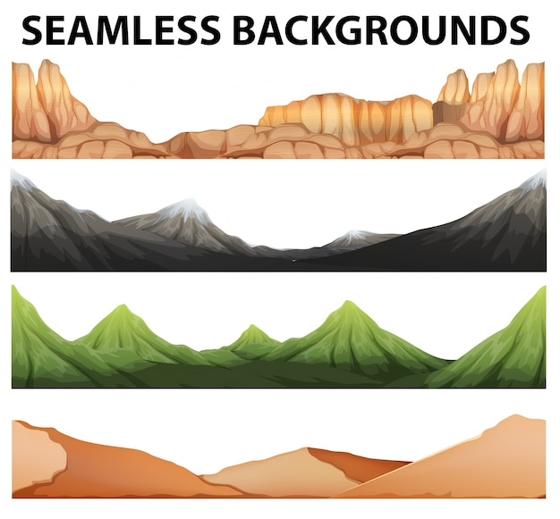 Seamless backgrounds with different types of mountains Free Vector