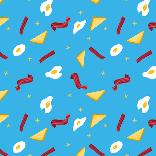Seamless bacon and egg pattern in blue Premium Vector