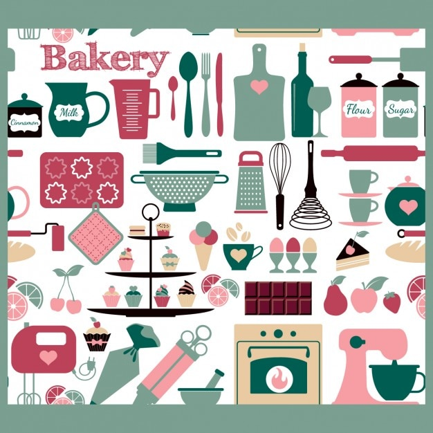 Seamless bakery tools pattern Free Vector