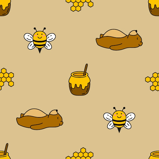 Seamless bear and bee vector pattern background Premium Vector