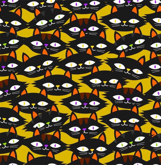 Seamless black cat pattern on yellow background Premium Vector