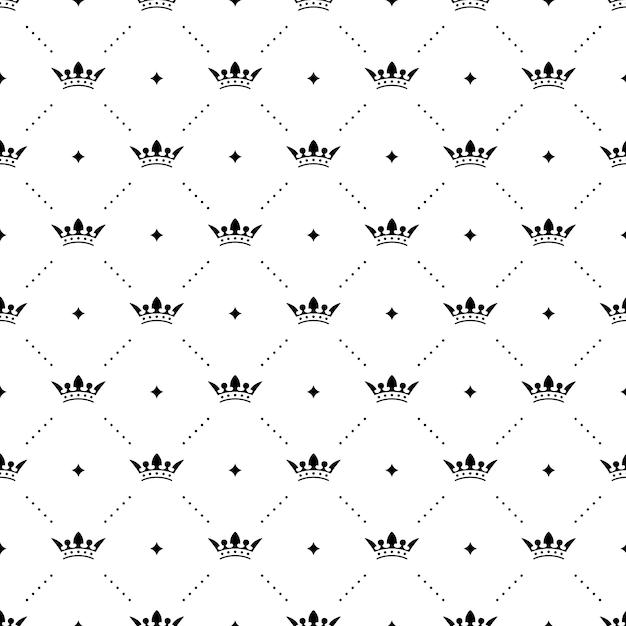 Безшовная черная картина с коронами короля на белой предпосылке. векторная иллюстрация Premium векторы