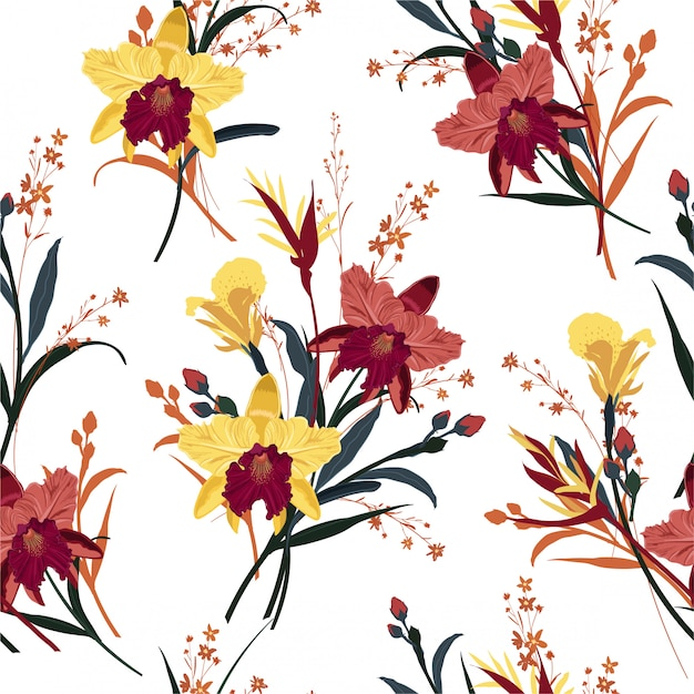 Seamless blooming orchid, floral summer pattern Premium Vector