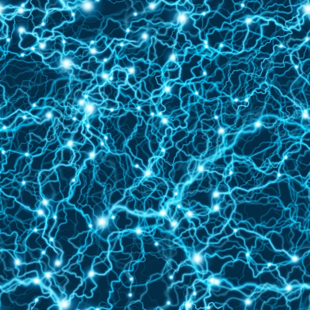 Бесшовные синий электрический рисунок молнии. флэш-болт шторм текстуры. Premium векторы